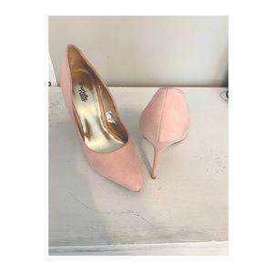 'Pretty In Pink Heels'-Faux Suede